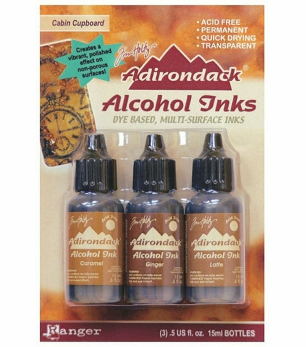 Ranger Adirondack Alcohol Ink 1/2-Ounce 3/Pkg, Cabin Cupboard,