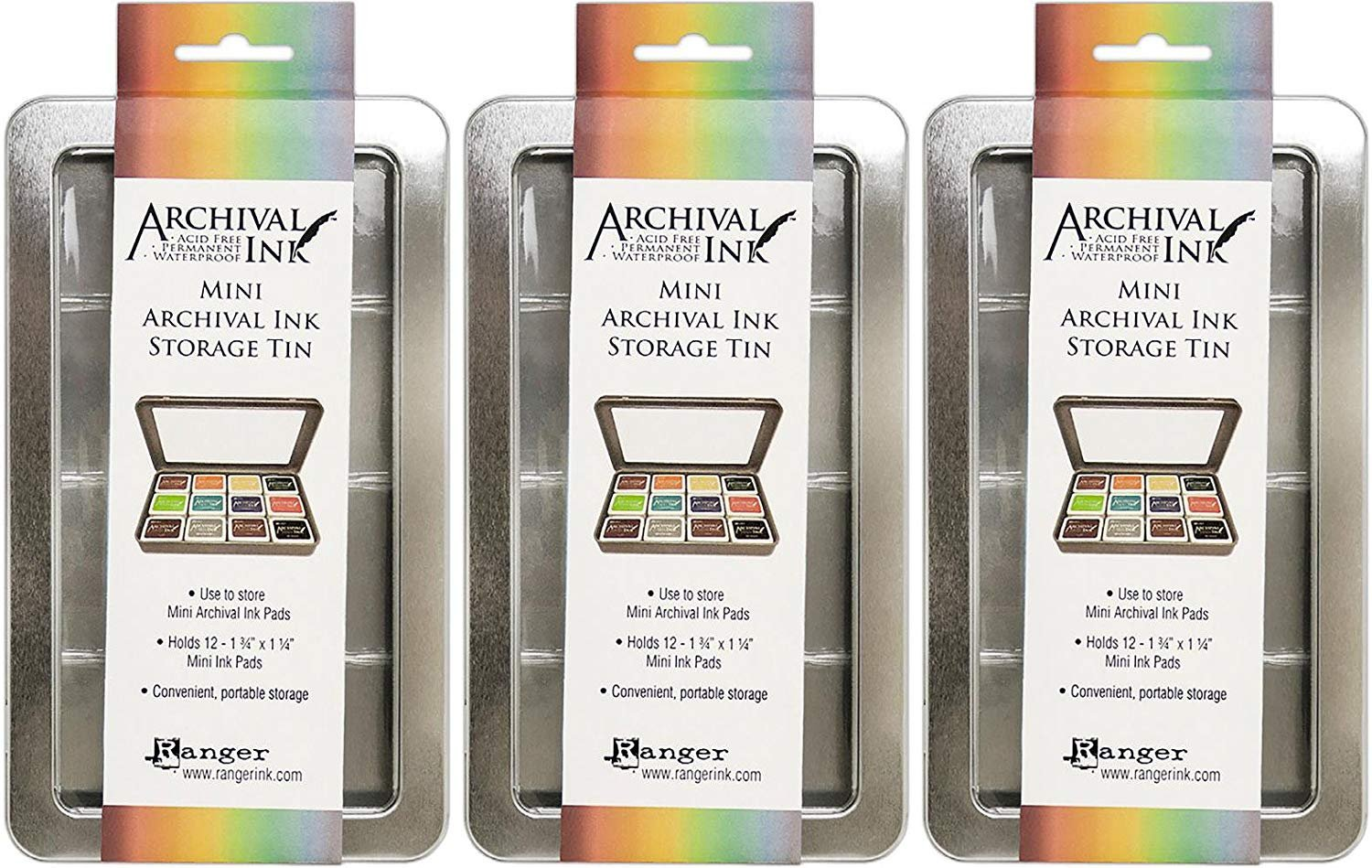 Ranger Mini Archival Ink Storage Tins - Pack of 3 Tins