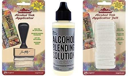 Ranger Adirondack Alcohol Ink Applicator, Stamp Handle, 50 Replacement Felts and Alcohol Blending Solution