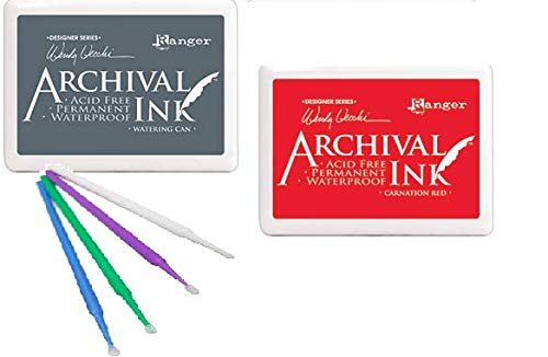 Ranger Archival Ink Bundle Jumbo #3 Pads Winter 2019 Release with Bonus Detail Picks (5 Pad Set)