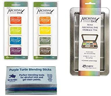 Ranger Bundle Wendy Vecchi Mini Archival Ink Pad Sets 5 & 6 with Mini Archival Storage Tin Plus Bonus PTP Blending Sticks