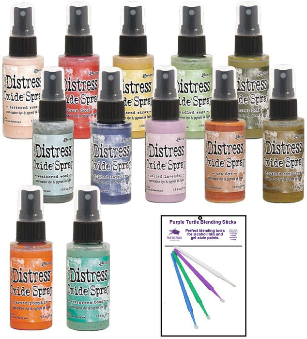 Ranger Bundle Distress Oxide Spray Fall 2019 Collection with Bonus PTP Blending Sticks (12 Complete Fall Collection)