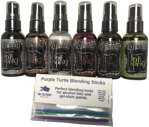Ranger Dylusions Ink Spray Bundle Six Bottle Set with Bonus Purple Turtle...