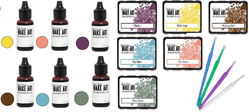 Ranger Wendy Vecchi Make Art Blendable Bundle - All 6 New February 2019 Colors (Ink Pad and Reinker Set 2019) with Purple Turtle Sticks