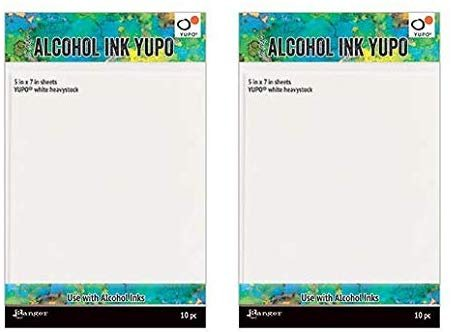 Ranger Alcohol Ink Yupo Paper - White Heavystock 5X7-2 Pack (with Bonus Purple Turtle Products Blending Sticks)
