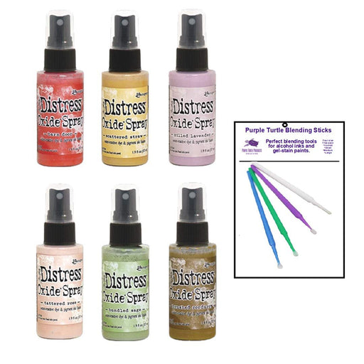 Ranger Bundle Distress Oxide Spray Fall 2019 Collection with Bonus PTP Blending Sticks (6 Bold Fall Collection)