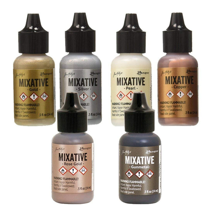 Ranger Tim Holtz Metallic Mixatives | Bundle of 6 Colors: Silver, Gold, Rose Gold, Gunmetal, Pearl, Copper