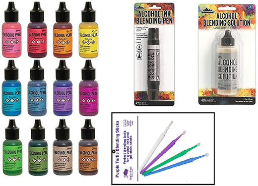 Ranger Tim Holtz Adirondack Alcohol Ink Pearl Set Bundle All 12 Pearls Blending Solution and Pen and Purple Turtle Blending Stick Tools for Use On Yupo Paper, Colorful Cardstock, Resin Tint and More!