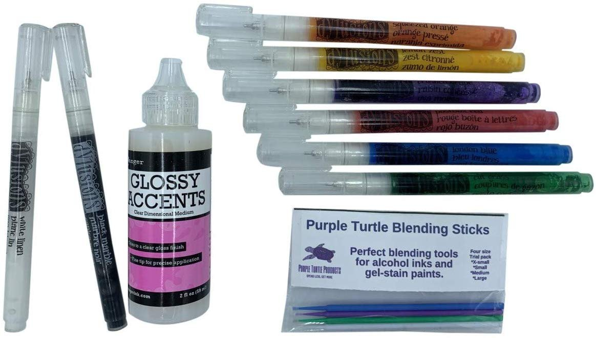 Ranger Dylusions 8 Paint pen set with Glossy Accents and Turtle Sticks