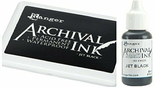 Ranger Archival Jet Black Permanent Dye Ink Stamp Pad & Re-Inker Refill