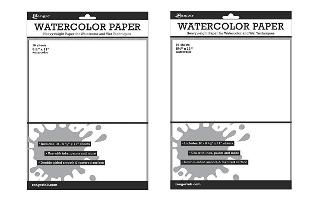 Ranger Inkssentials Watercolor Paper White 8.5-inch x 11-inch, 2 Pack (20