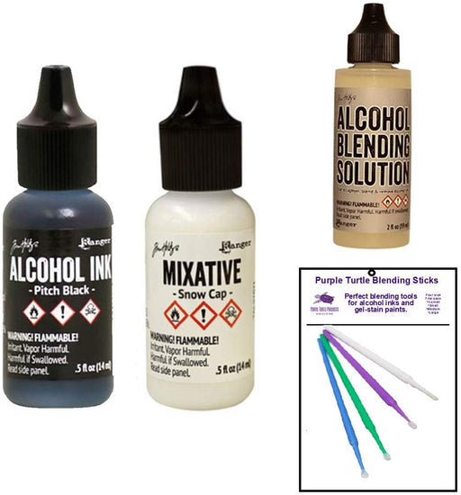 Tim Holtz Bundle - Snow Cap & Pitch Black Mixatives - Alcohol Blending Solution - Purple Turtle Detail Sticks