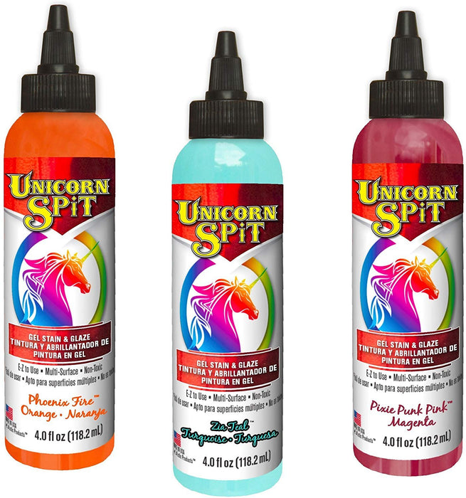 Unicorn Spit - Gel Stain & Glaze Paint in One, Phoenix Fire, Pixie Punk Pink and Zia Teal, 4 oz