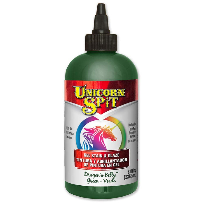 Unicorn SPiT 5771007 Gel Stain and Glaze, Dragon's Belly 8.0 FL OZ Bottle, Green