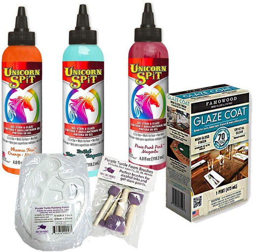 Unicorn SPiT Gel Stain & Glaze Paint in One Bundle with Famowood Glaze Coat...