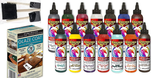 Unicorn SPiT Bundle - All 14 Colors (4oz Bottles), 1 Quart Famowood Glaze, 6...