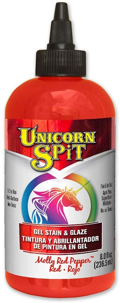 Unicorn SPiT 5771002 Gel Stain and Glaze, Molly Red Pepper 8.0 FL OZ Bottle