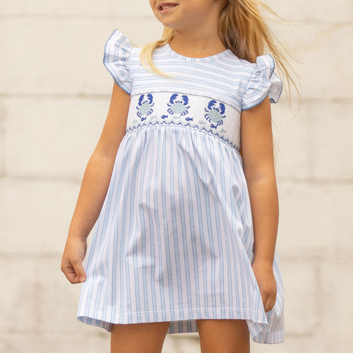 Charleston Blue Crab Smocked Dress