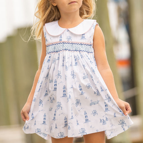 Nautical Toile Smocked Dress
