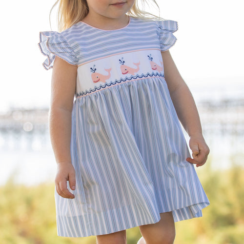 Nautical Whale Smocked Dress