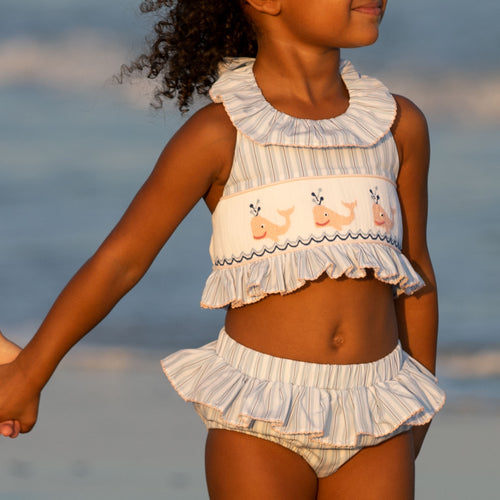 Nautical Whale Smocked Swimsuit