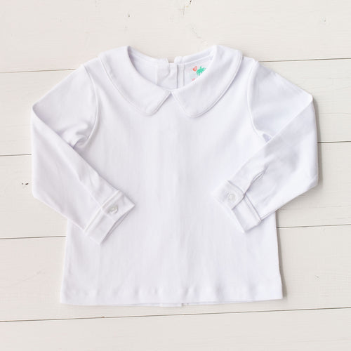 Boys White Knit Longsleeve Shirt