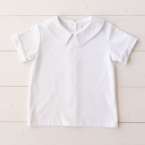 Boys White Knit Short Sleeve Shirt