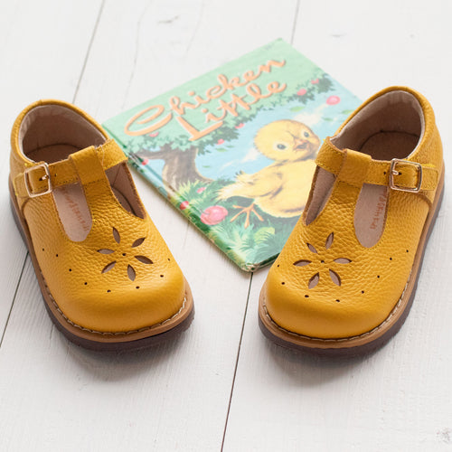 Mustard T-Strap Mary Janes (Runs Small)