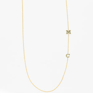 Double Small Initial Necklace