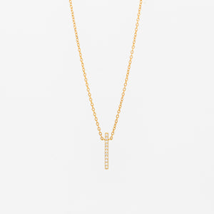Dainty Diamond Bar Necklace - Vertical
