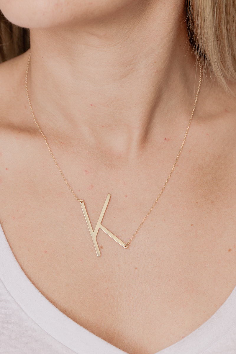 Sideways Large Initial Necklace