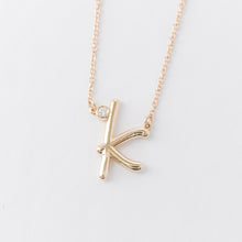 Load image into Gallery viewer, Cursive Diamond Initial Necklace