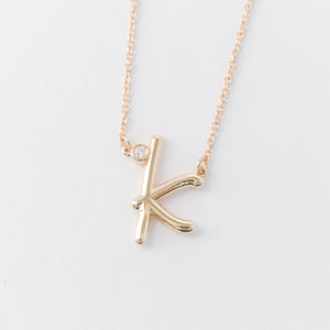 Cursive Diamond Initial Necklace