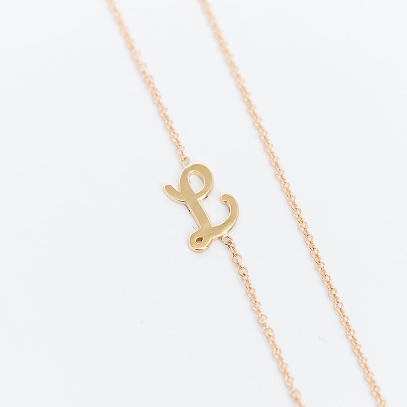 Asymmetric Small Cursive Uppercase Initial Necklace