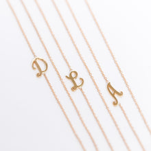 Load image into Gallery viewer, Asymmetric Small Cursive Uppercase Initial Necklace