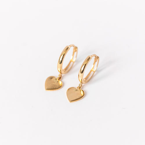 Drop Heart Huggie Earring