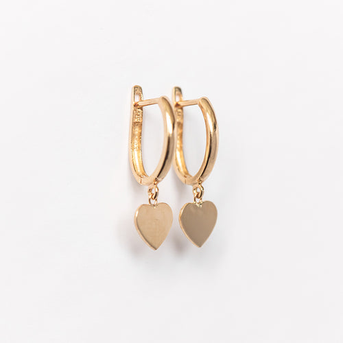 Drop Heart Oval Huggie Earring