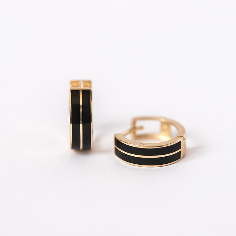 Black Enamel and Gold Huggie Double