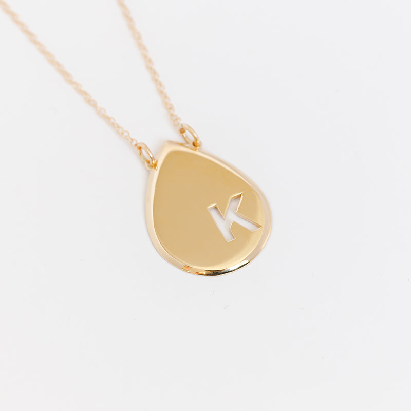 Raindrop Disc Initial Necklace