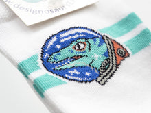 Load image into Gallery viewer, Space Raptor Socks Designosaur - white 4-8