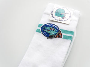 Space Raptor Socks Designosaur - white 7-11