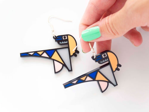 Geometric dinosaur raptor drop earring Designosaur