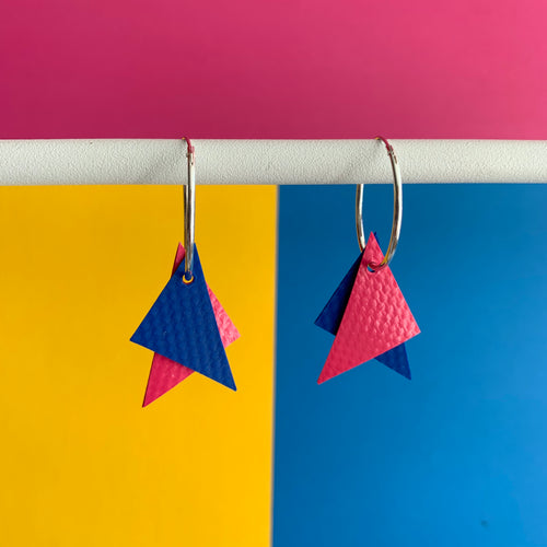 Stellen Pink and Blue Triangle Earrings