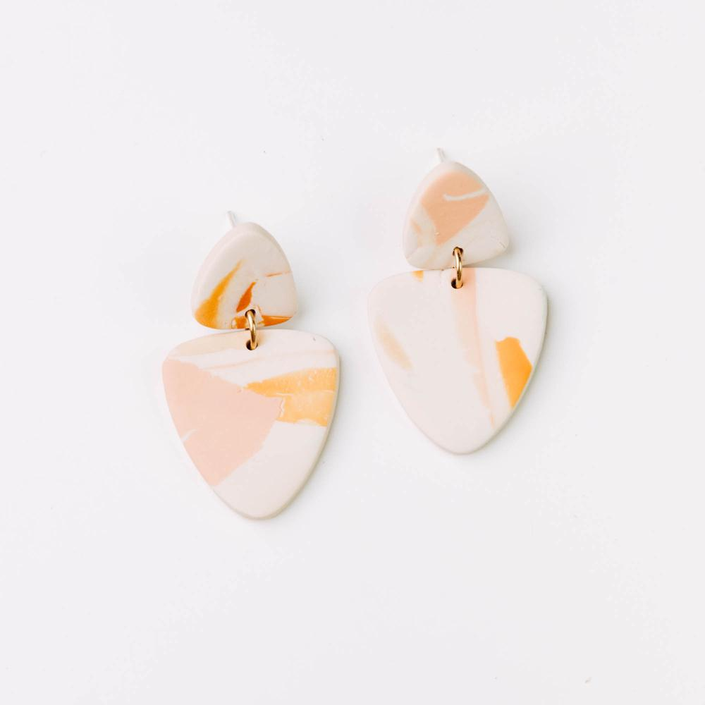 Kin Drop Earrings - Peachy Watercolour - Pepper You