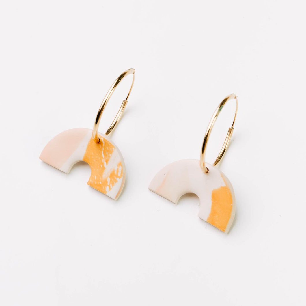 Bethany Hoop Earrings in Just Peachy Watercolour - By Pepper You