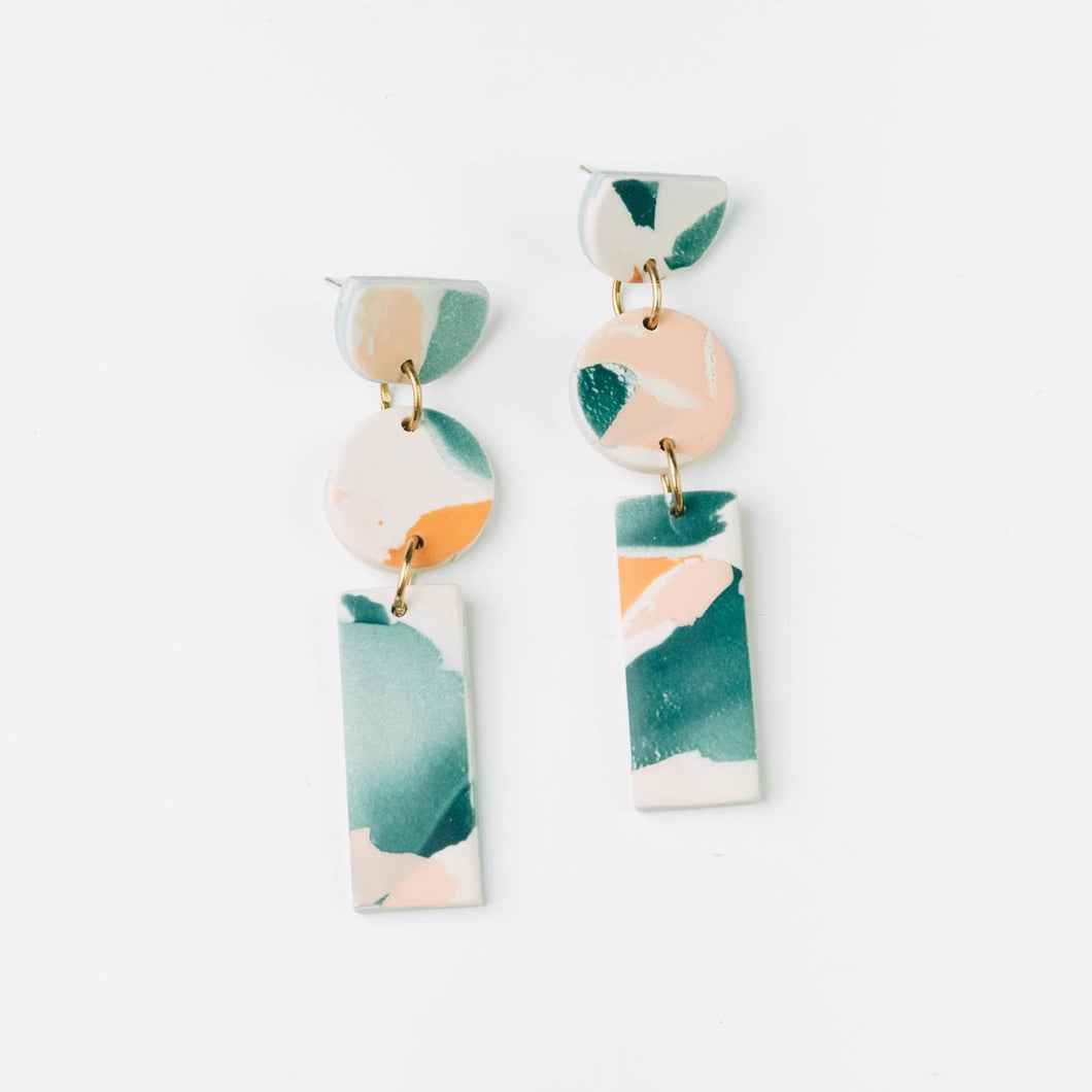 Cairn Stack Earrings in Lagoon Watercolour- By Pepper You