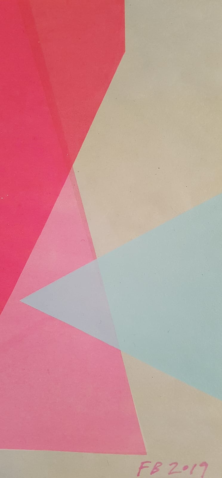 Frea Buckler-Pink Pale Blue Screen Print 20x11cm Signed