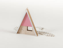 Load image into Gallery viewer, Tiny Scenic Pink A-Frame Cabin Necklace