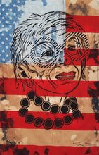 Load image into Gallery viewer, Pam Glew- Iris Apfel Lino Print on flag - Framed