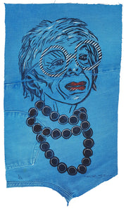 Pam Glew- Iris Apfel Lino Print on fabric